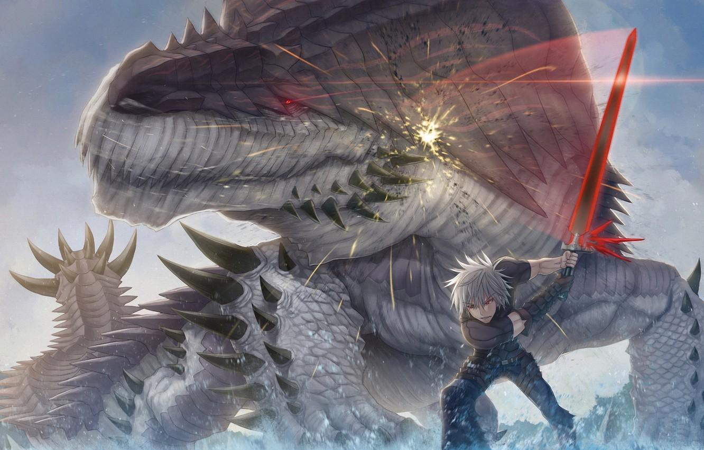 Photo wallpaper weapons, monster, sword, art, lizard, battle, guy