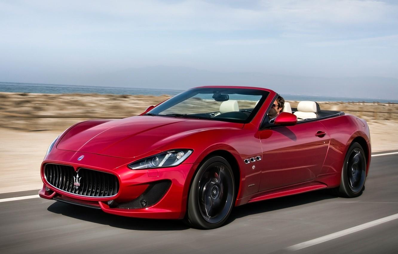 Photo wallpaper Maserati, Red, Road, Sport, Machine, Convertible, Movement, Machine, Maserati, Red, Car, Car, Cars, Sport, Cars, …