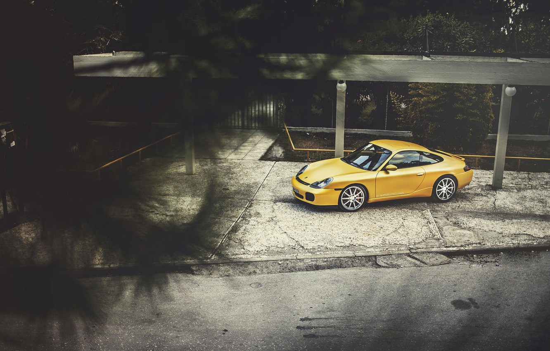 Photo wallpaper Porsche, Porsche, Carrera, Yellow, 996, Wildness