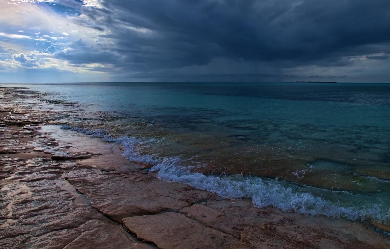 Photo wallpaper sea, clouds, clouds, nature, shore, coast, horizon