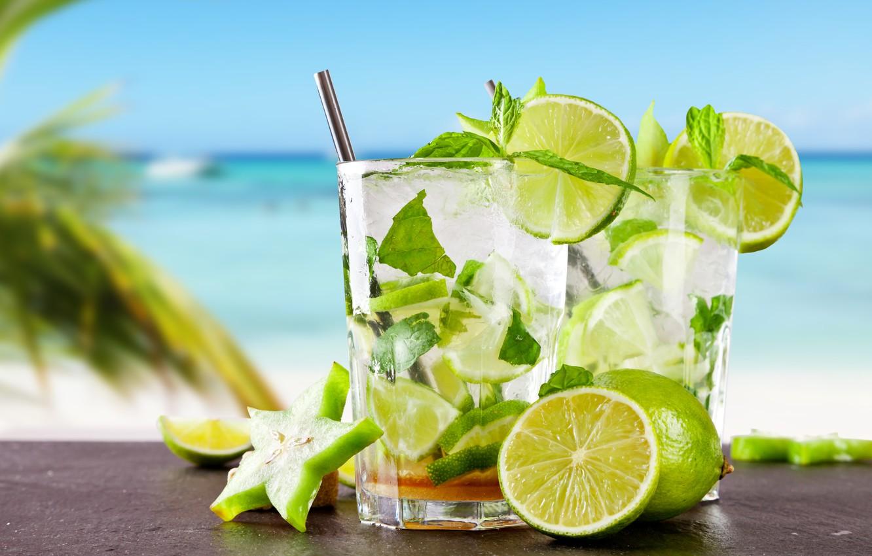 Photo wallpaper sea, beach, cocktail, lime, fresh, drink, mojito, cocktail, lime, Mojito, tropical