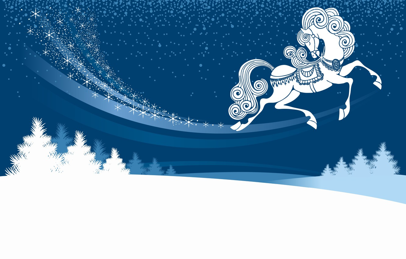 Photo wallpaper winter, snow, night, the snow, symbol of the year, horse, Christmas trees
