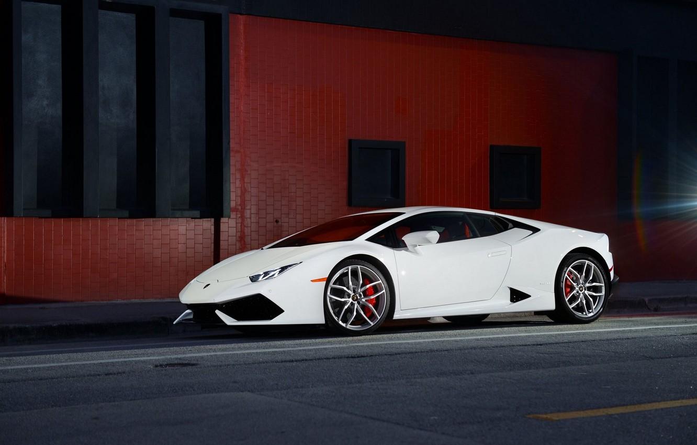 Photo wallpaper Lamborghini, Front, White, Smoke, Supercar, Wheels, Huracan, LP610-4, Ligth