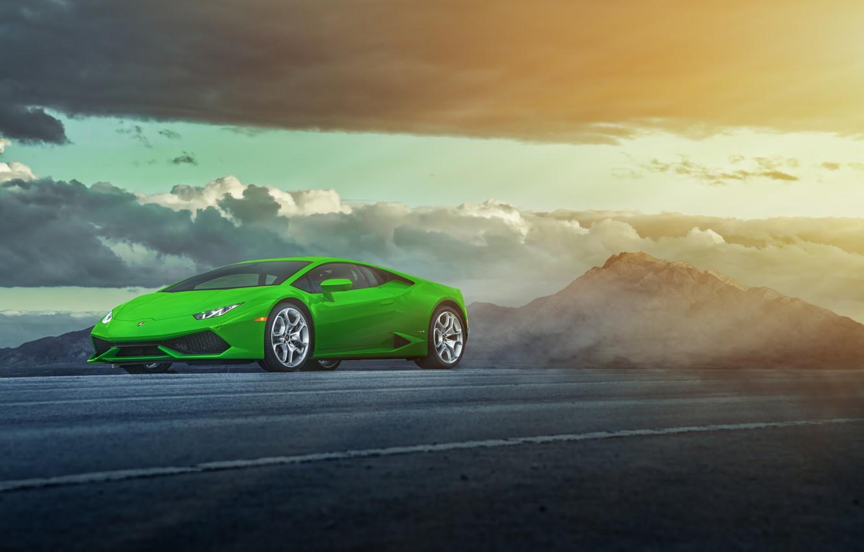 Photo wallpaper green, Lamborghini, LP 610-4, Huracan, LB724