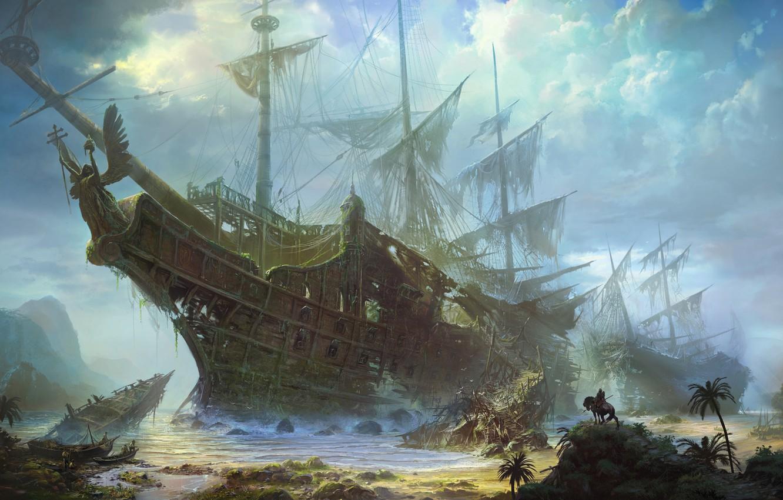 Photo wallpaper sea, the wreckage, palm trees, find, horse, coast, ship, sailboat, the skeleton, art, rider, giant, …