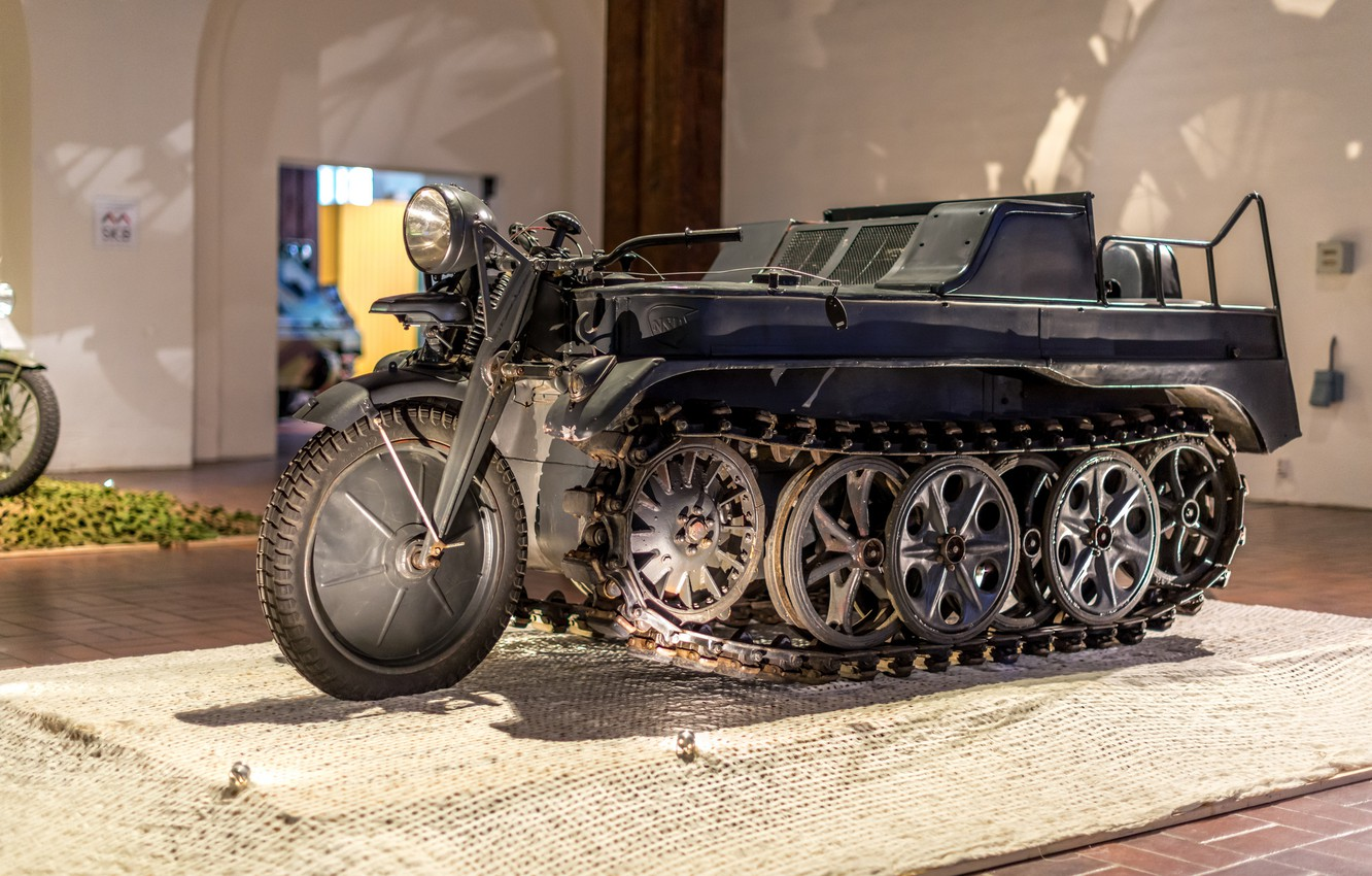 Photo wallpaper Germany, Museum, The second world war, exhibit, Kettenkrad HK 101, SdKfz 2, half-track motorcycle
