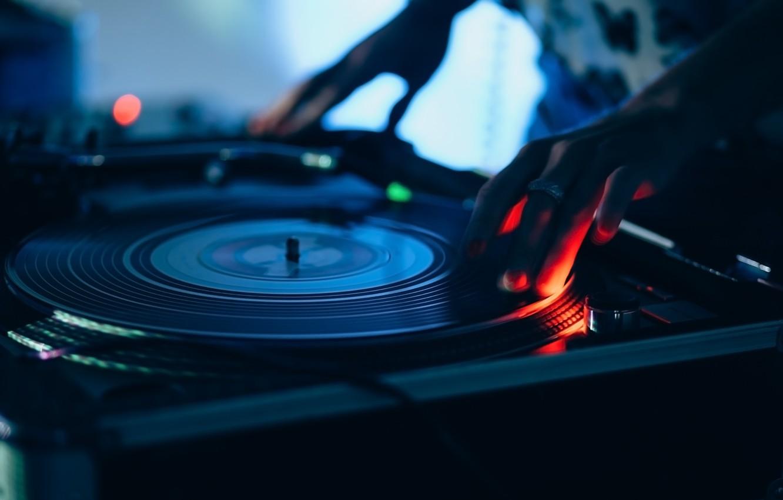 Photo wallpaper club, blur, turntables, remote, vinyl, record, tool, party, mixer, DJ, music, bokeh, closeup, wallpaper., musical …