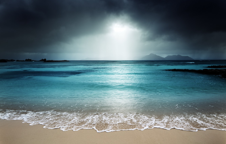 Photo wallpaper sea, beach, sunset, beach, sea, ocean, sunset