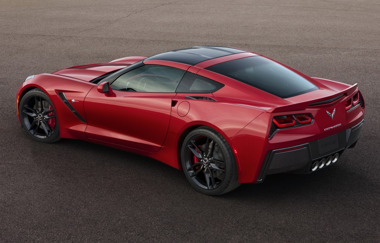 Photo wallpaper red, Corvette, Chevrolet, Chevrolet, rear view, Stingray, Corvette, Stingray
