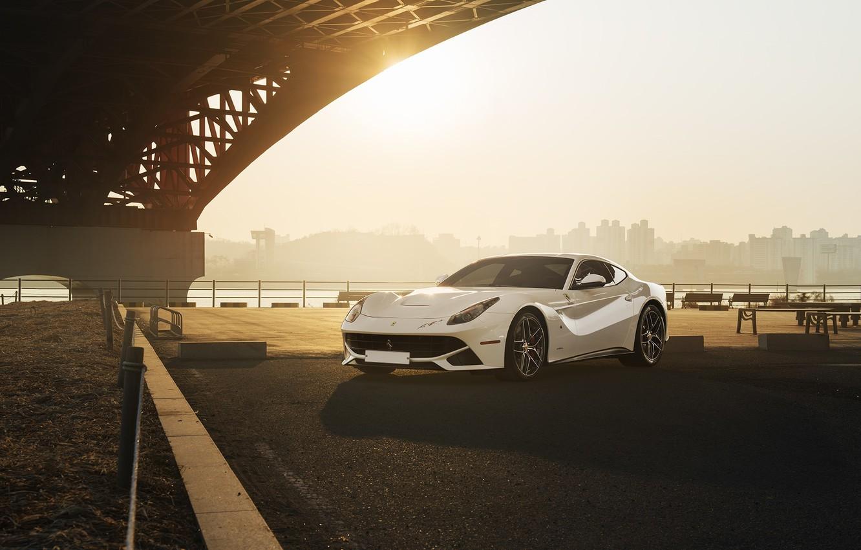 Photo wallpaper City, Ferrari, Front, Bridge, Sun, White, Supercar, Berlinetta, F12