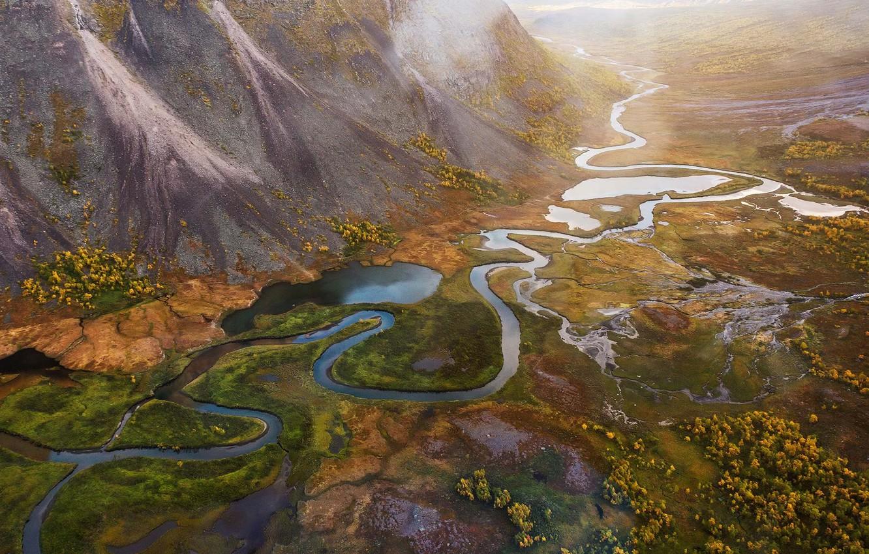 Photo wallpaper mountains, river, texture, land
