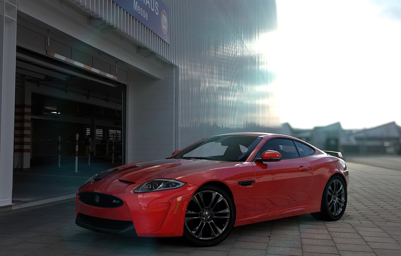 Photo wallpaper Jaguar, Red, Coupe, XKR-S