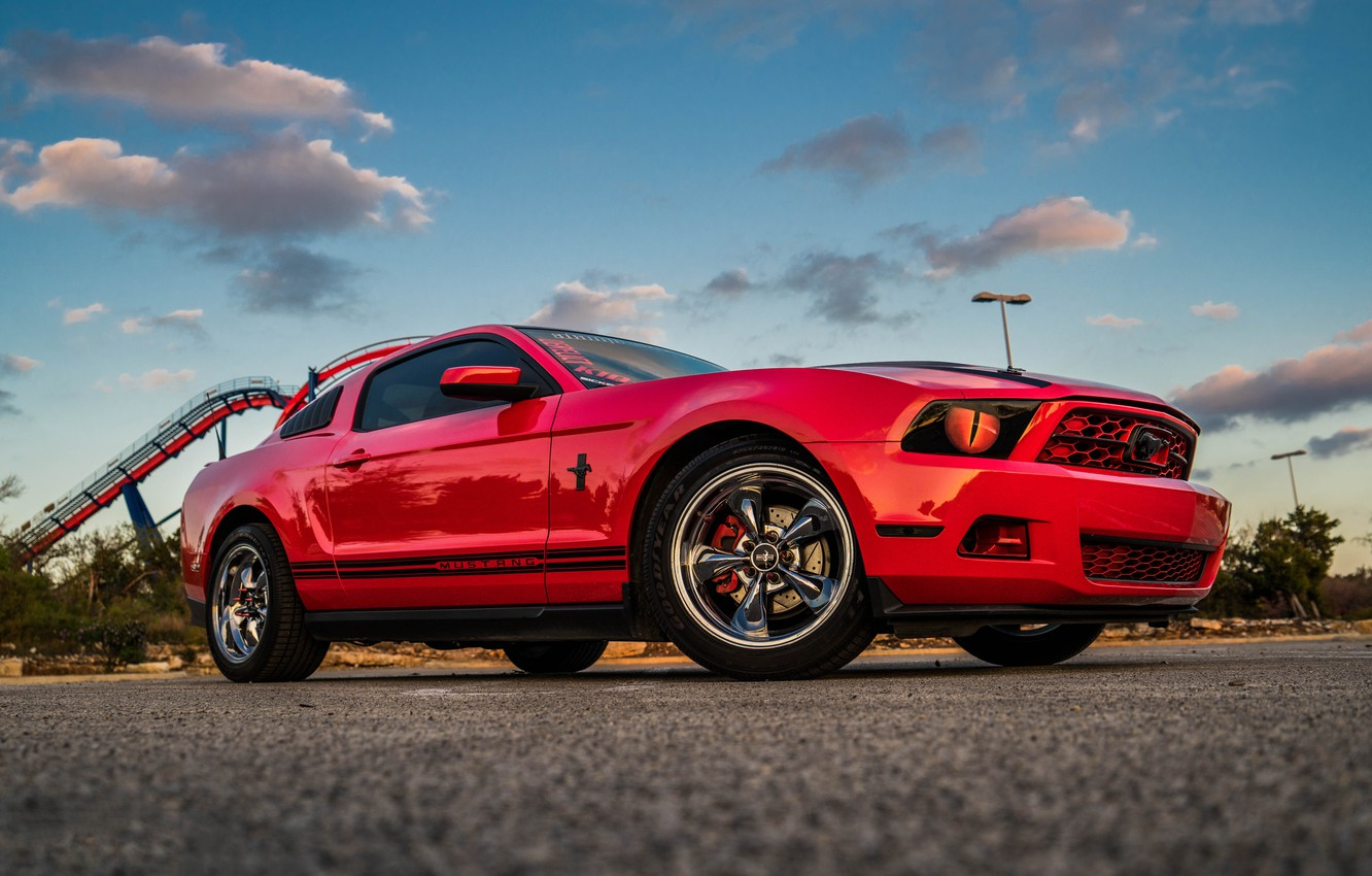 Photo wallpaper Mustang, Ford, Red, The, Kid, Wheels, Chromium