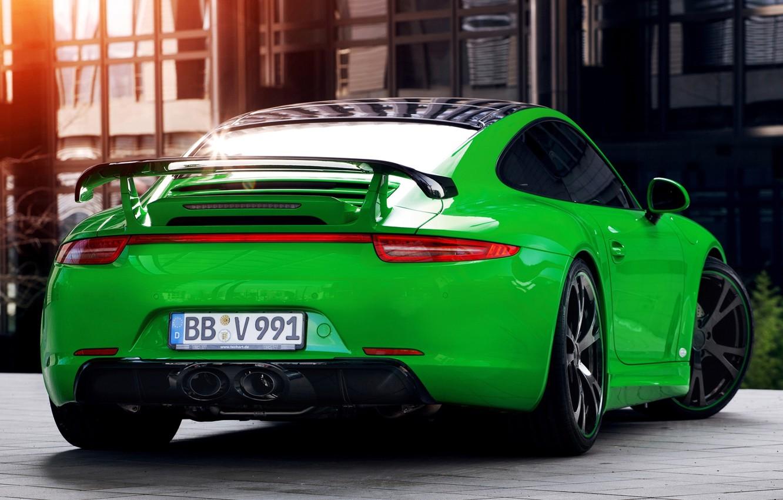 Photo wallpaper 911, Porsche, green, Porsche, rear view, Carrera, Carerra, TechArt
