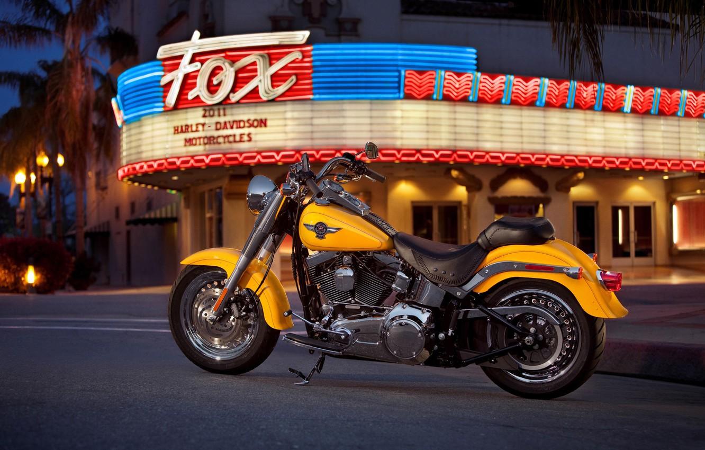 Photo wallpaper color, lights, motorcycle, bright, American, Harley-Davidson, city., night, yellow