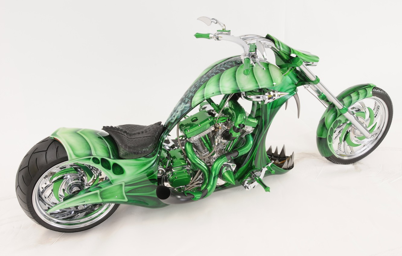 Photo wallpaper design, green, style, background, tuning, motorcycle, form, airbrushing, bike