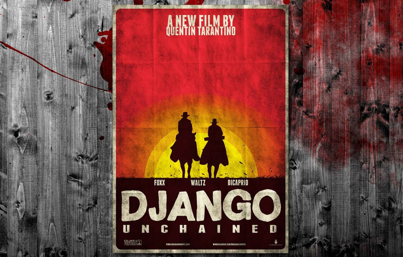 Photo wallpaper sunset, blood, the fence, poster, western, Western, quentin tarantino, django unchained, Django unchained