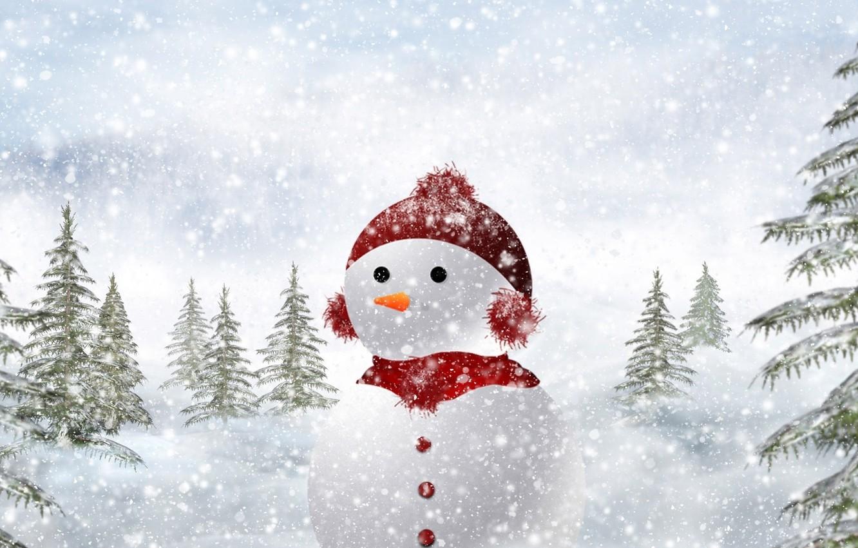 Photo wallpaper winter, snow, nature, tree, Snowman