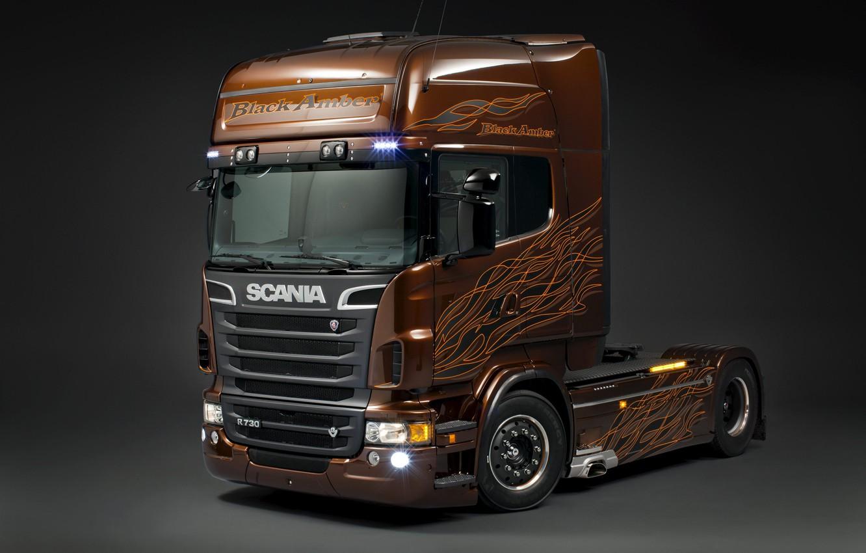 Photo wallpaper Scania, Tractor, Scania, Black Amber, Stelnik, Scania Trucks, 730 HP, R730, Р730