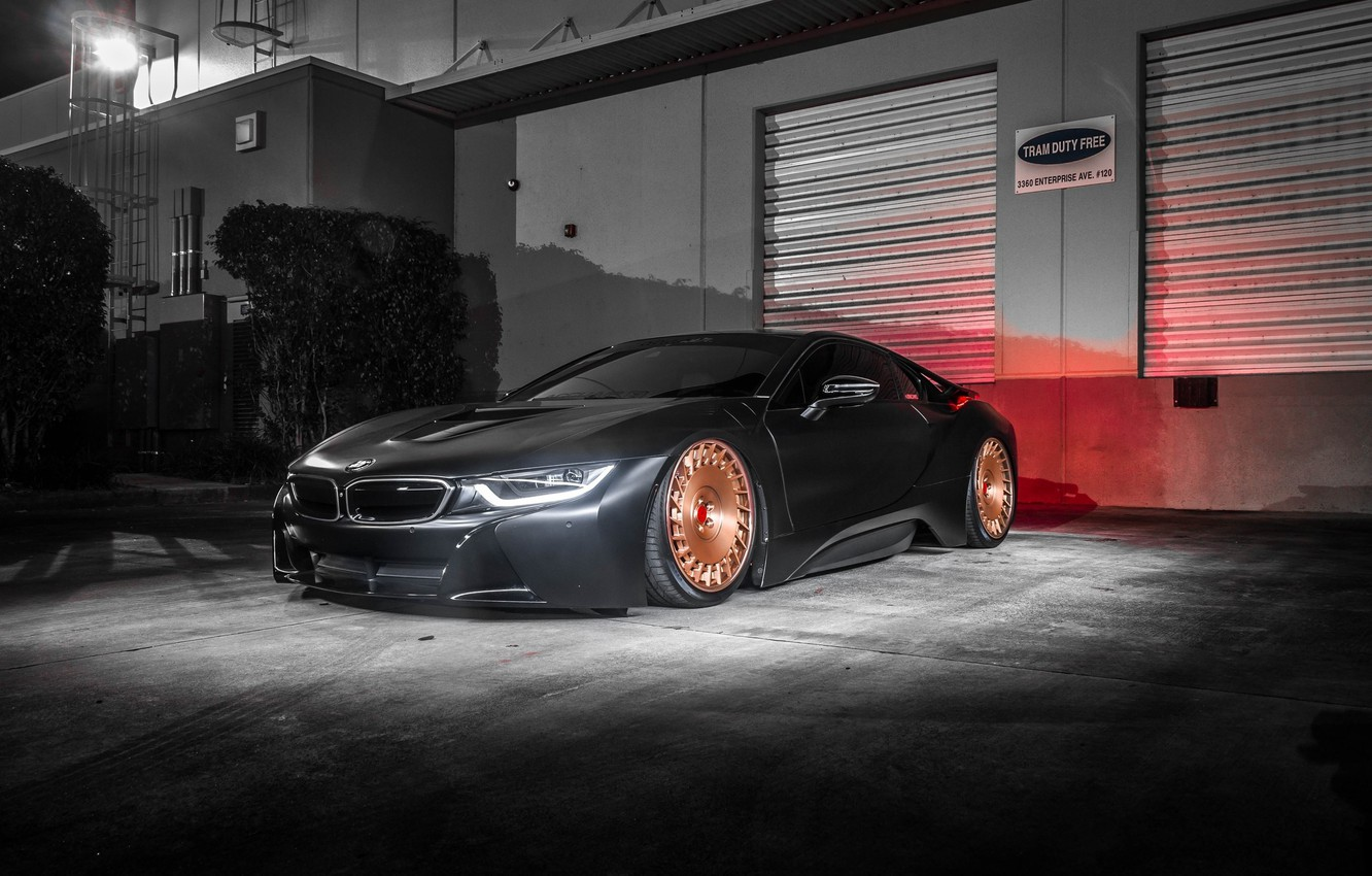 Photo wallpaper bmw, wheels, black, tuning, night, face, germany, low, stance, electro car