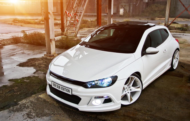 Photo wallpaper white, tuning, Volkswagen, Scirocco, Dub Edition tuned