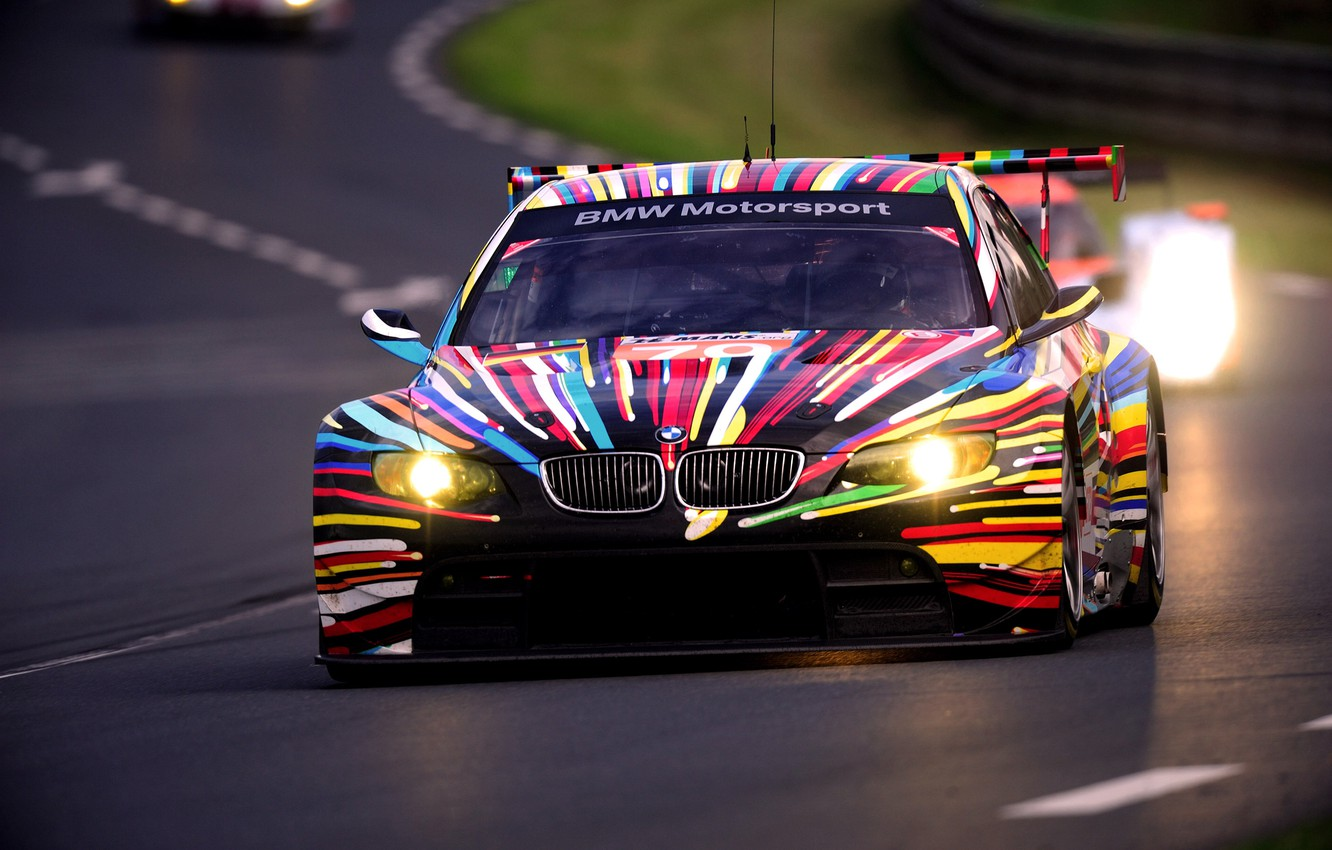 Photo wallpaper The evening, Auto, BMW, Sport, Machine, Boomer, Lights, Track, GT2, The front, 24h Le Mans