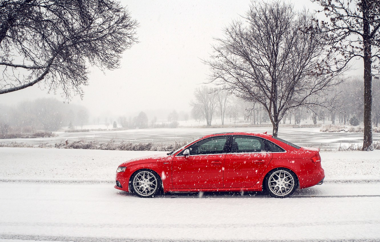 Photo wallpaper winter, snow, Audi, Audi, profile, red, red