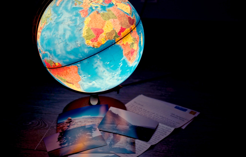 Photo wallpaper lamp, map, lamp, globe
