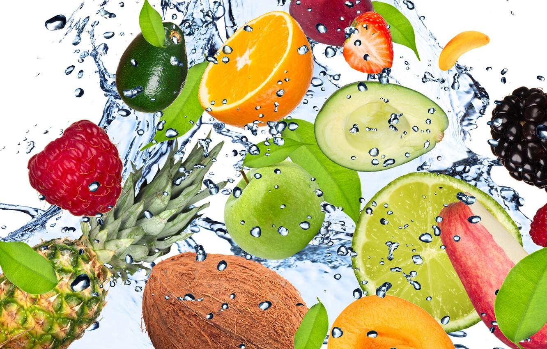 Photo wallpaper water, drops, squirt, freshness, raspberry, lemon, apple, Apple, coconut, strawberry, lime, lemon, fruit, pineapple, banana, ...