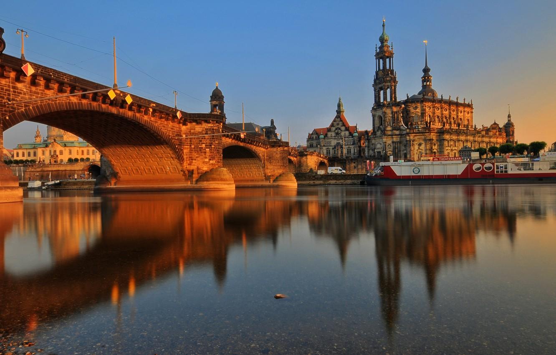 Photo wallpaper sunset, bridge, river, building, Germany, architecture, Dresden