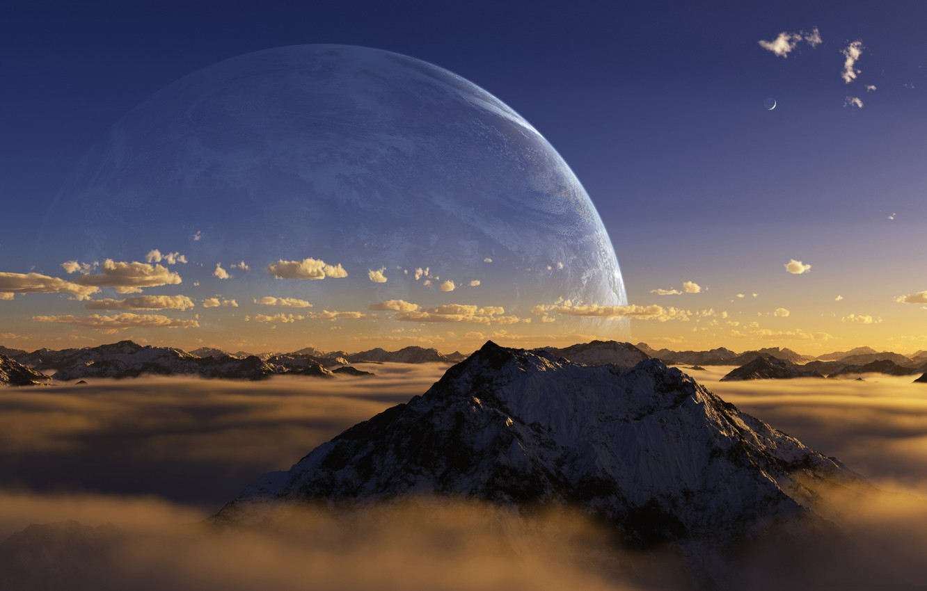 Photo wallpaper the sky, clouds, mountains, fog, tops