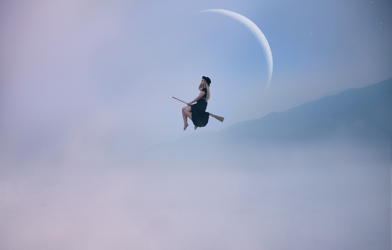 Photo wallpaper girl, the moon, flight, witch