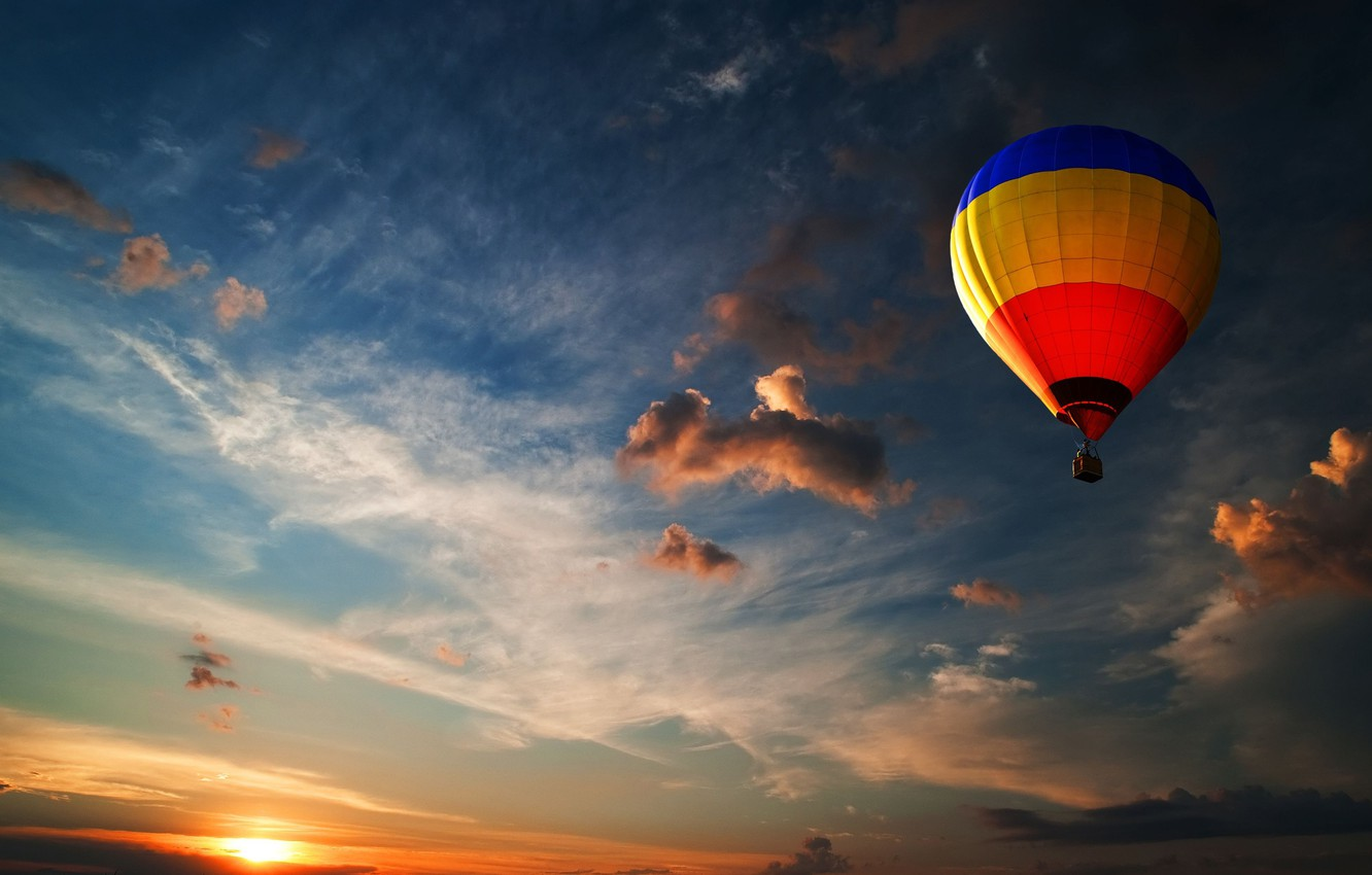 Photo wallpaper the sky, color, the sun, clouds, light, blue, yellow, red, balloon, balloons, blue, the wind, …