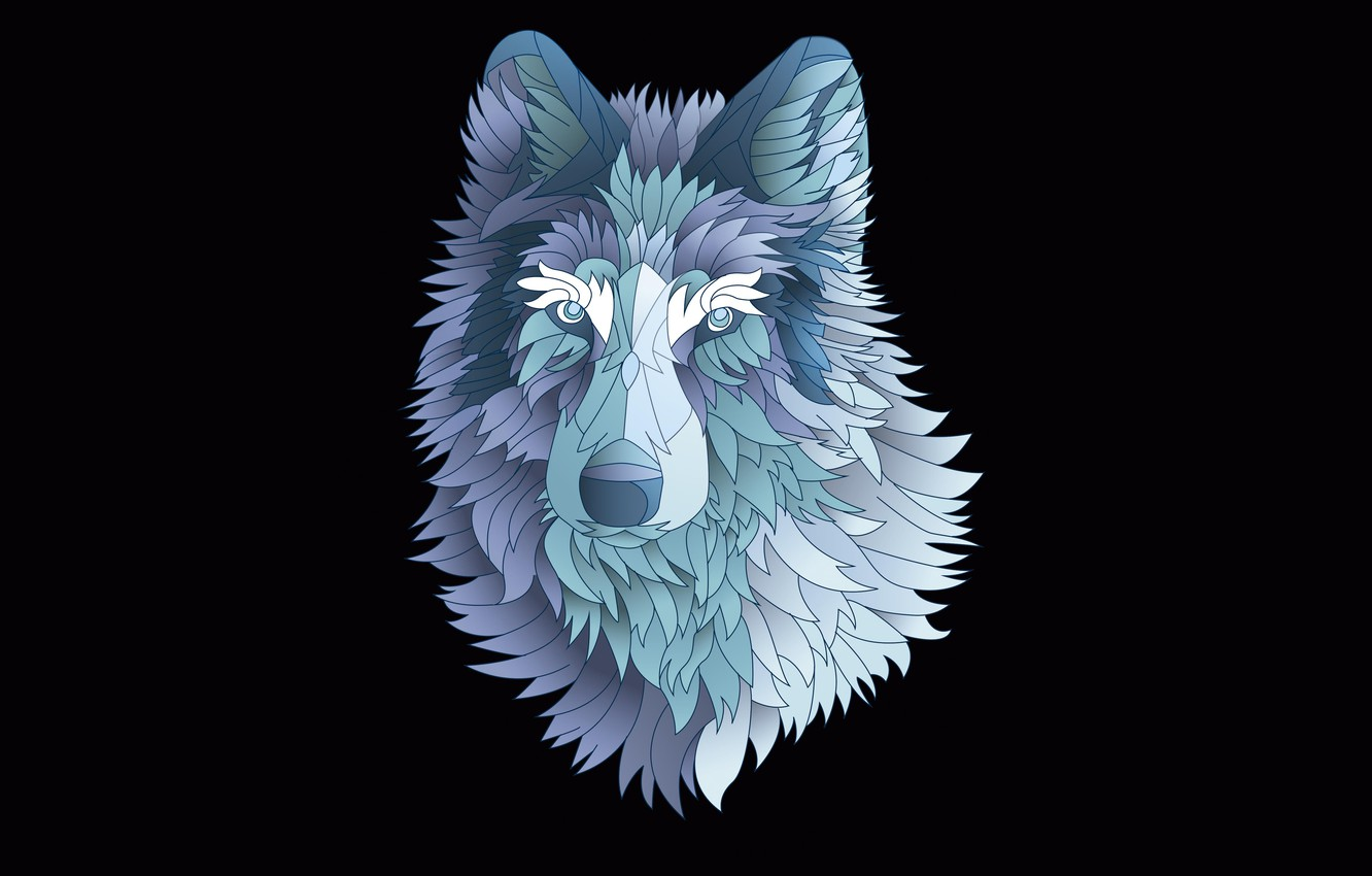 Photo wallpaper the dark background, wolf, minimalism, wolf