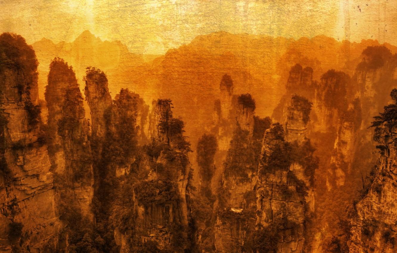 Photo wallpaper landscape, mountains, style