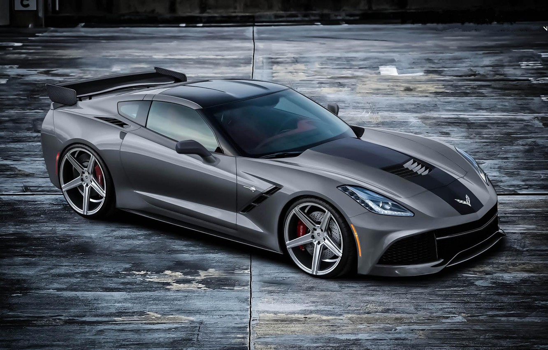Photo wallpaper grey, Corvette, Chevrolet, Chevrolet, grey, the view from the top, wing, Stingray, Corvette
