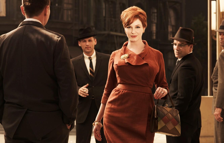 Photo wallpaper street, woman, the series, men, Madmen, Christina Hendricks, Mad Men, Go Harris