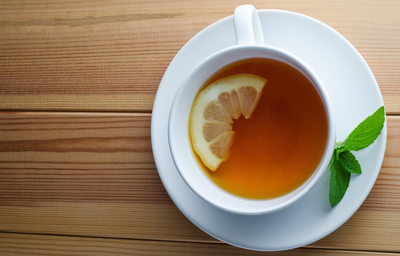 Photo wallpaper lemon, tea, Cup, drink, mint, saucer