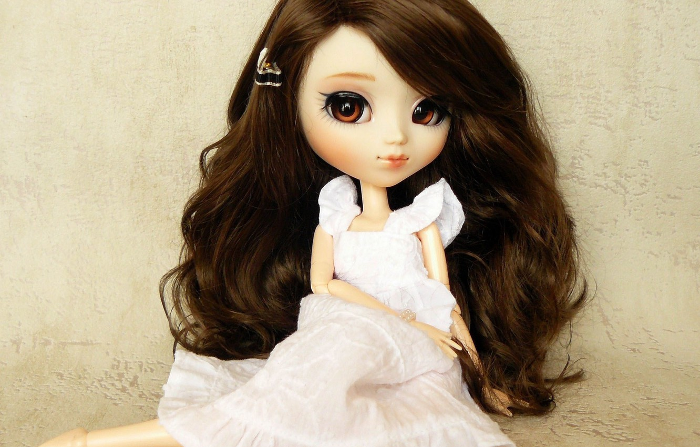 Photo wallpaper toy, doll, dress, brunette, sitting, long hair