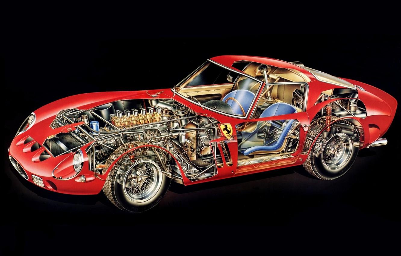 Photo wallpaper background, engine, interior, red, GTO, 1962, Ferrari 250