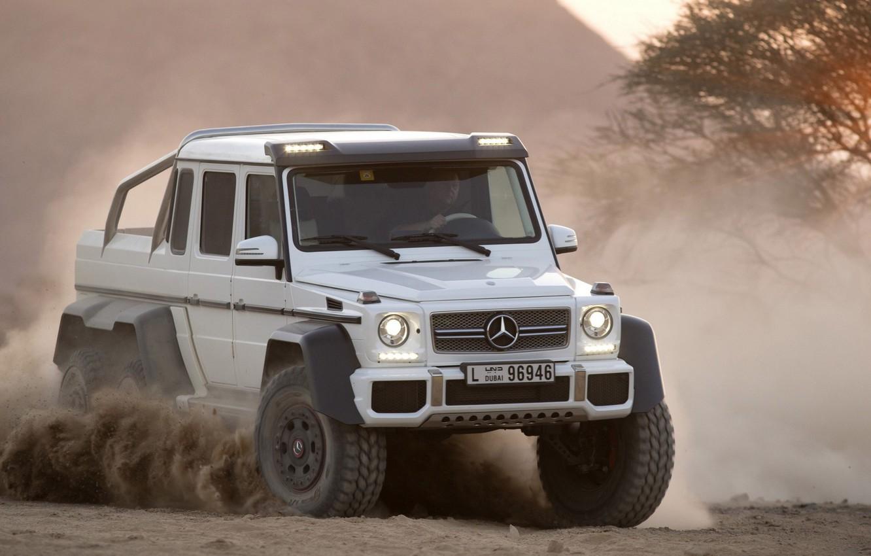 Photo wallpaper Dust, White, Mercedes, Jeep, 2012, Car, Mercedes Benz, AMG, Power, G63, Dust, 6x6