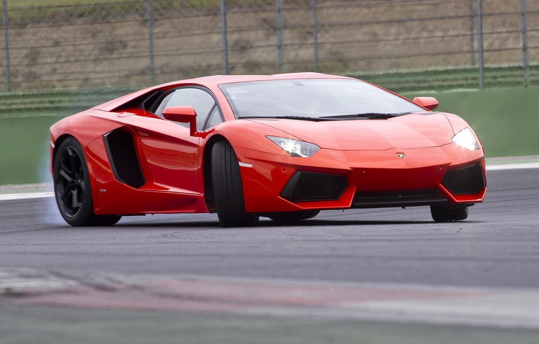 Photo wallpaper red, movement, turn, red, drift, lamborghini, Lamborghini, aventador, aventador lp700-4, лп700-4