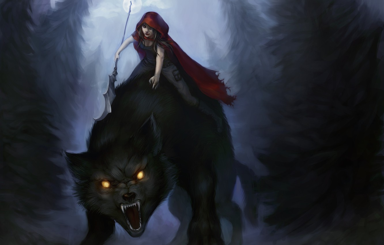 Photo wallpaper forest, look, girl, trees, night, wolf, little red riding hood, art, Red Riding Hood, grins