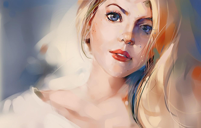 Photo wallpaper look, art, blonde, blue-eyed, drawn girl