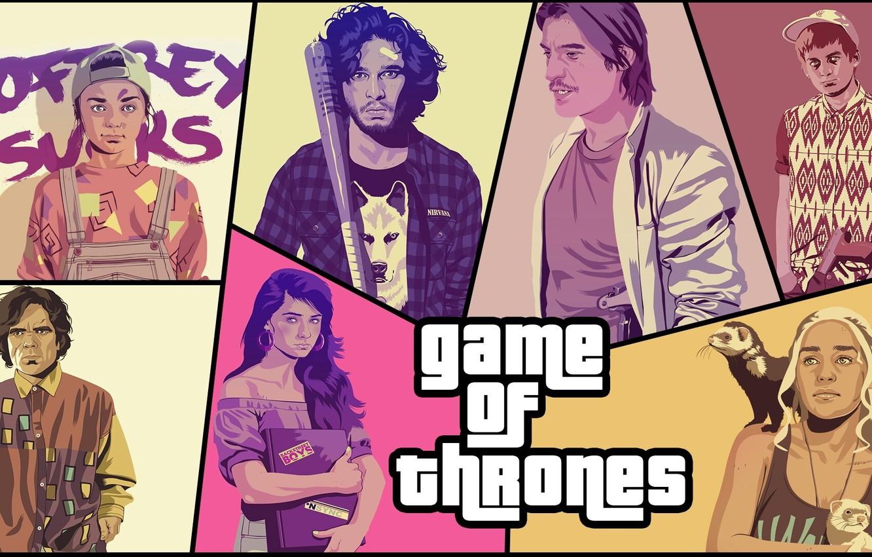 Photo wallpaper parody, GTA, Game Of Thrones, Game of Thrones