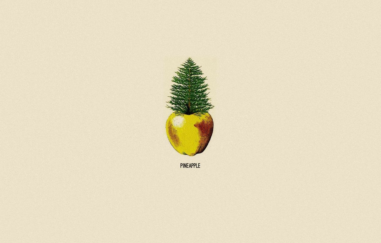 Photo wallpaper Apple, minimalism, pineapple, pine