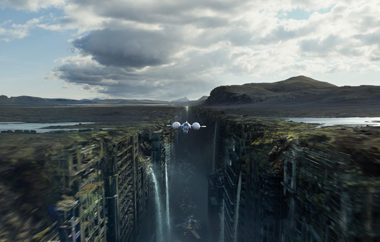 Photo wallpaper flight, the city, ship, gorge, ruins, waterfalls, oblivion, oblivion