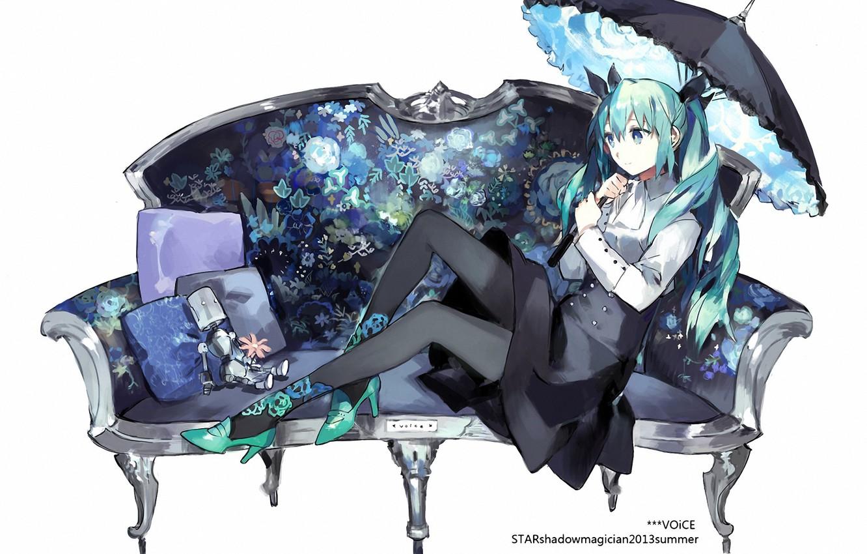 Photo wallpaper girl, umbrella, sofa, the inscription, hair, robot, skirt, pillow, Anime, Tights, vocaloid, hatsune miku, long …