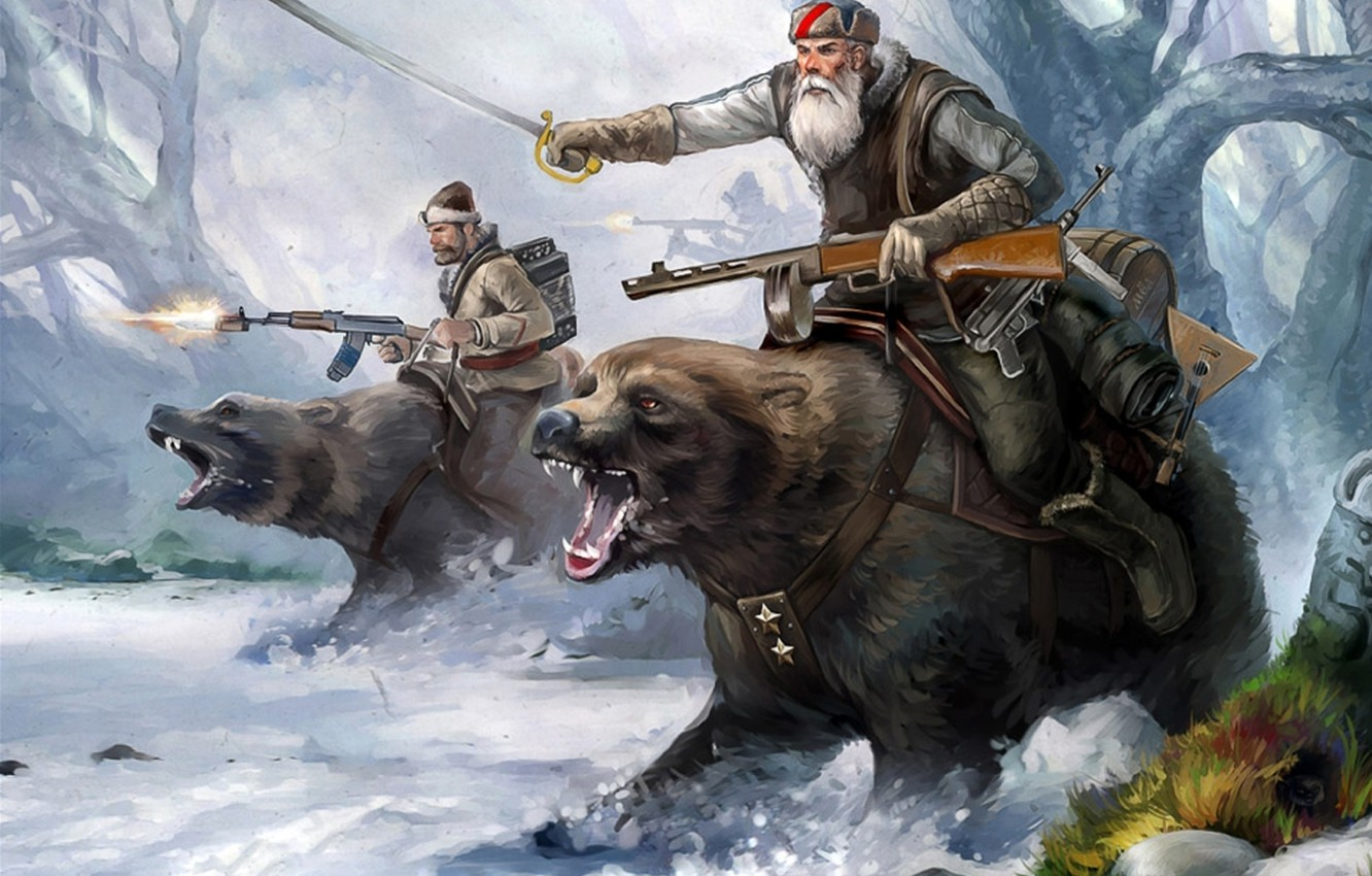 Photo wallpaper sword, forest, soldiers, trees, winter, snow, bears, musical instrument, machine guns, weapons of the second …