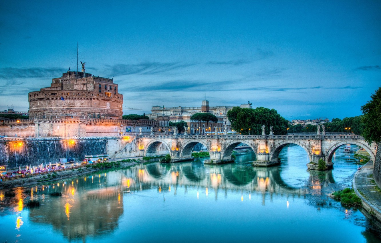 Photo wallpaper bridge, Italy, Rome, Sant' Angelo, Tiber river, The Castle Of St. Angel